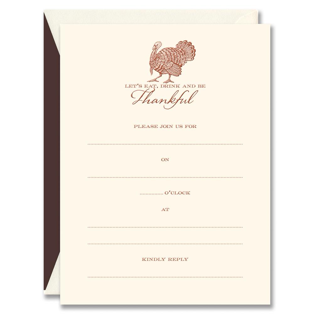 Engraved Turkey Thanksgiving Fill In Invitations